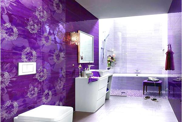 Плитка разных цветов в винтерье ванной - 9