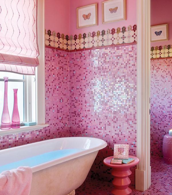 Плитка разных цветов в винтерье ванной - 7