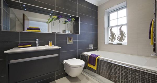 Плитка разных цветов в винтерье ванной - 8