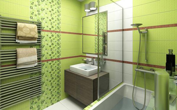 Плитка зеленого цвета в интерьере ванной- 1