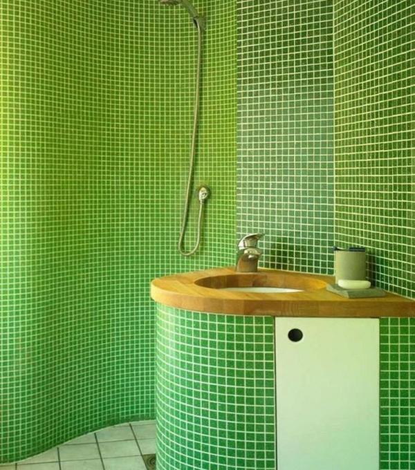 Плитка зеленого цвета в интерьере ванной- 2