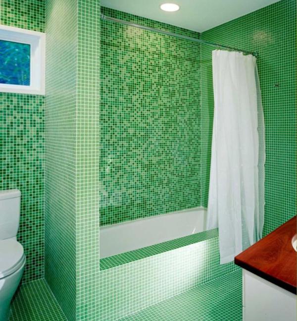 Плитка зеленого цвета в интерьере ванной- 3