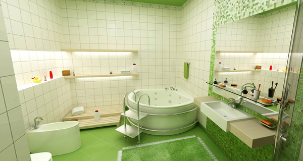 Плитка зеленого цвета в интерьере ванной- 4