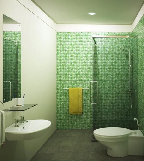 Плитка зеленого цвета в интерьере ванной- 5