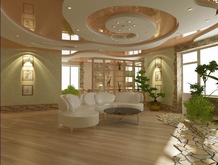 Дизайн потолков из гипсократона в большойгостиной