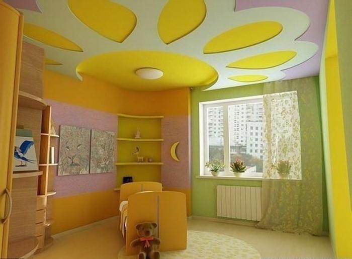 Дизайн потолка из гипсокартона в детской спальне