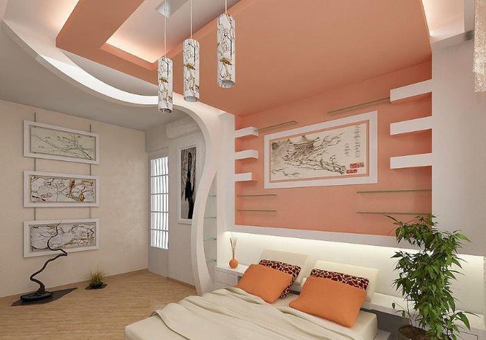 Потолок из гипсокартона как сделать в спальне 116