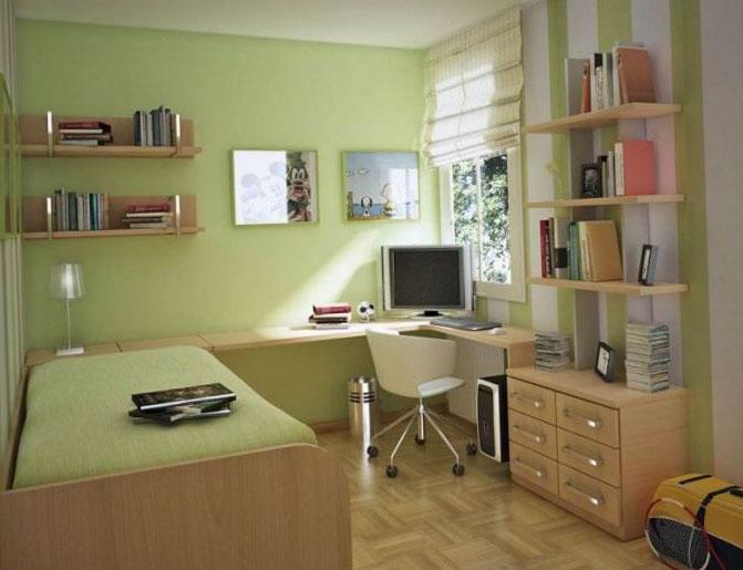 Спальня в оттенках зеленого - фото