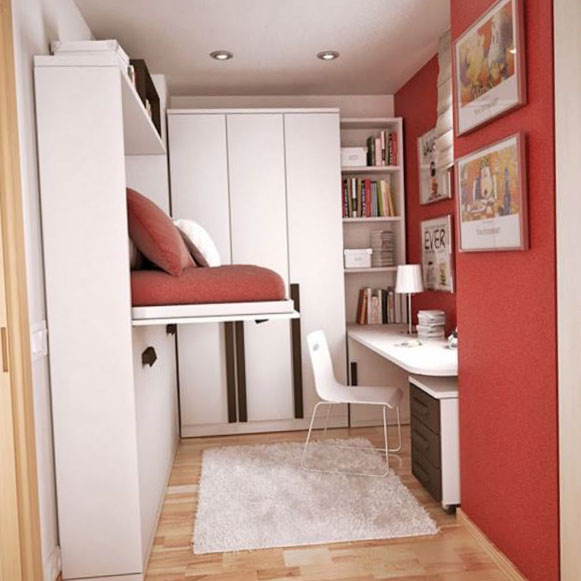 Спальня в оттенках красного/пурпурного - фото
