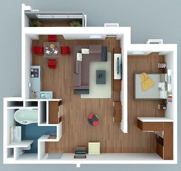 дизайн-проект однокомнатной квартиры 5