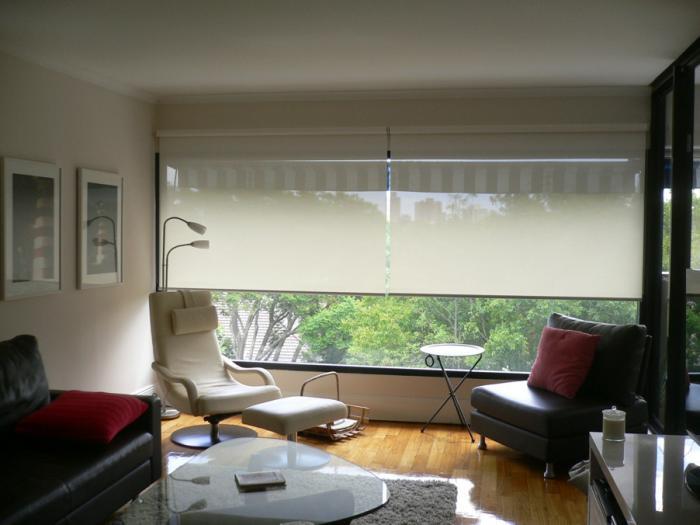 Римские и рулонные шторы в гостиной 4