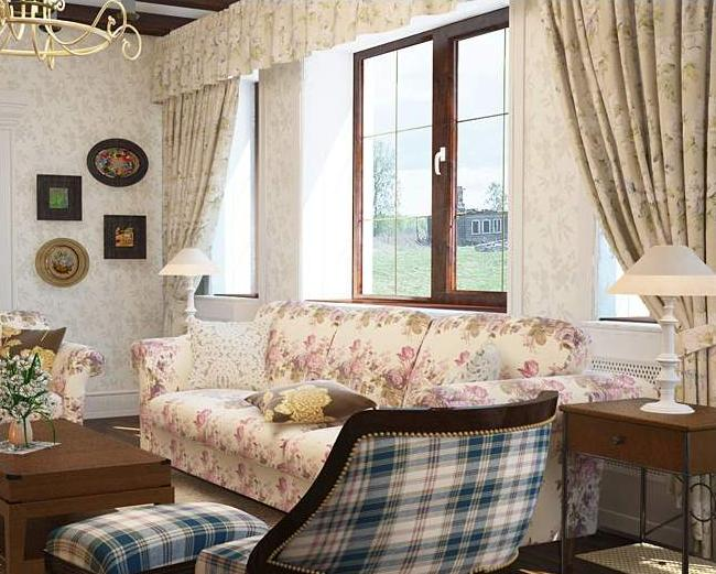 Фото штор в гостиную в стиле прованс