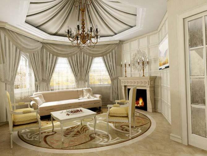 Классический стиль штор для зала