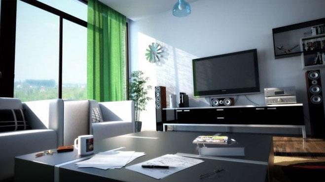 Шторы для зала в стиле минимализм