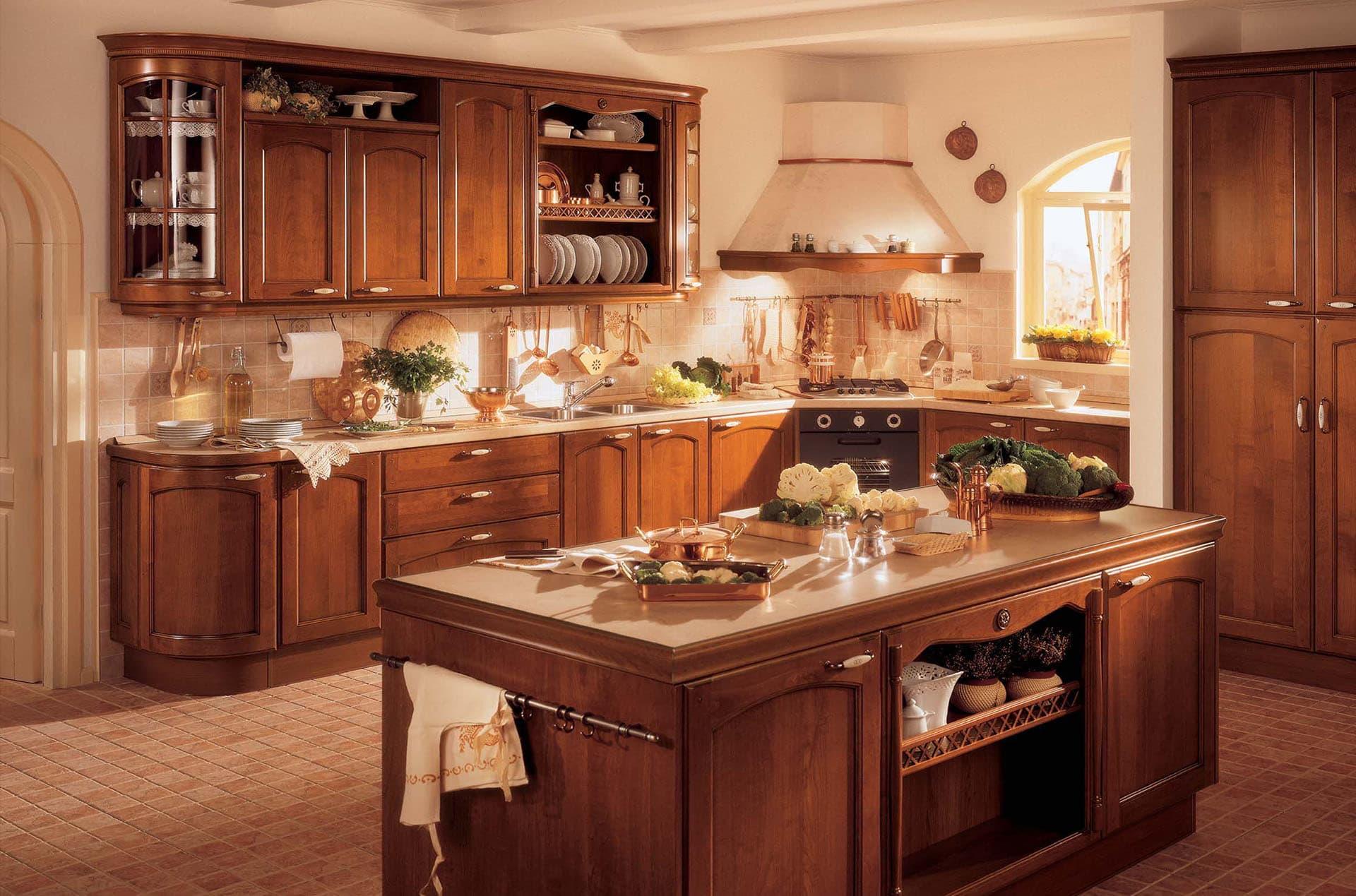 Обои для кухни в интерьере классика фото