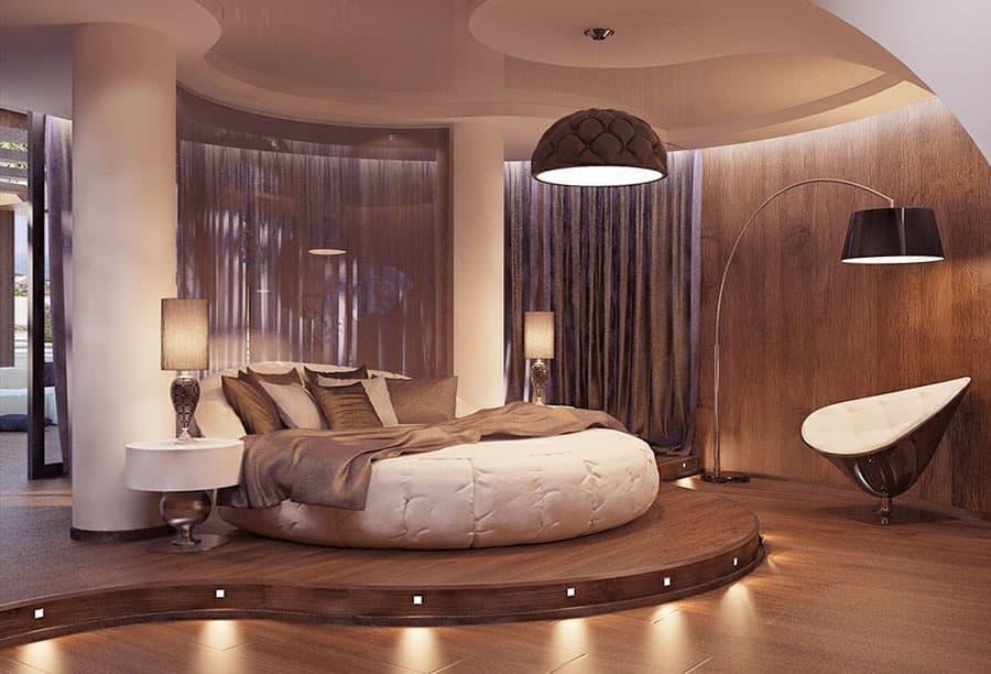 Дизайн спальни с круглой
