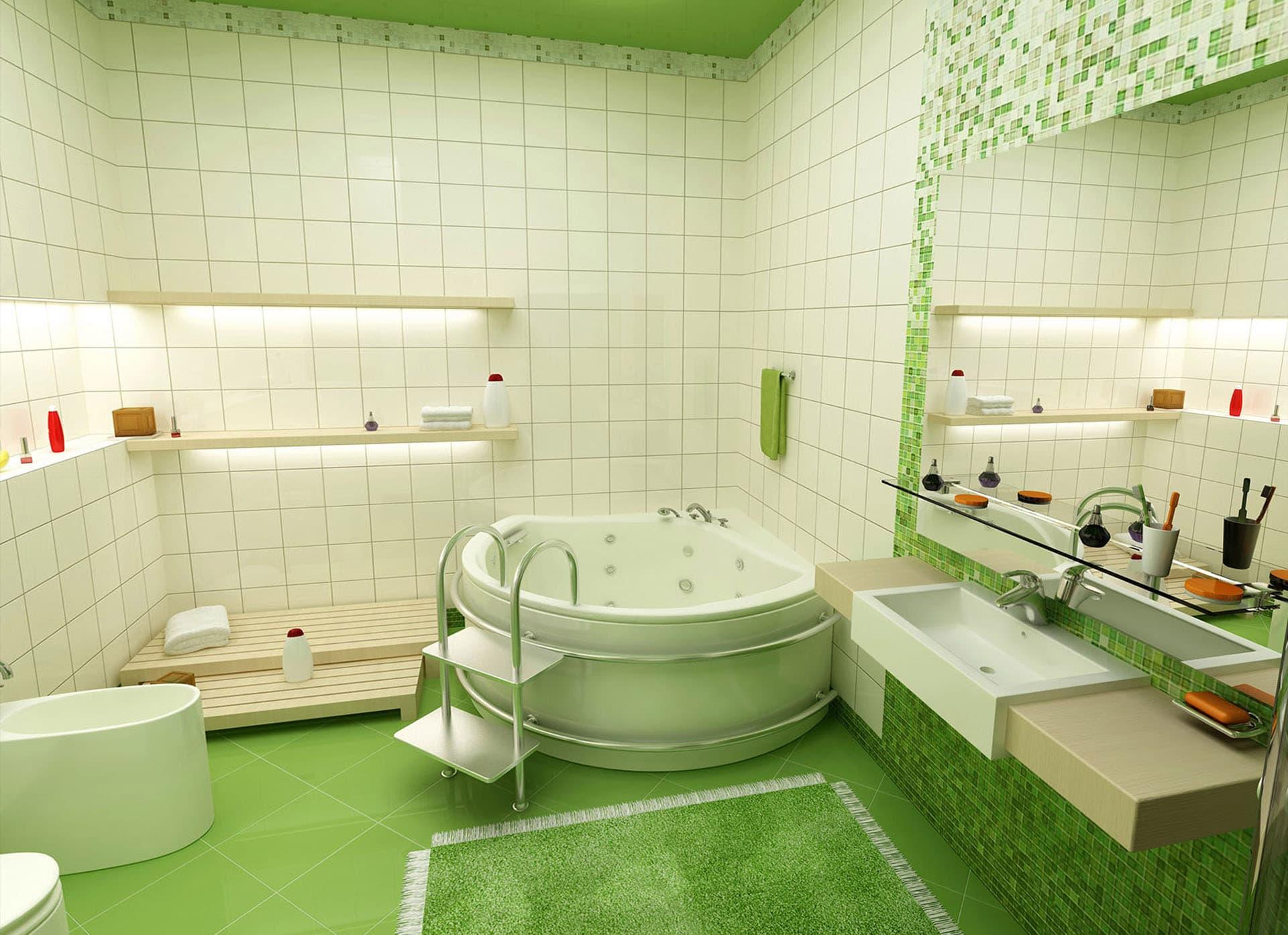 Зеленая ванная комната  № 2278624  скачать