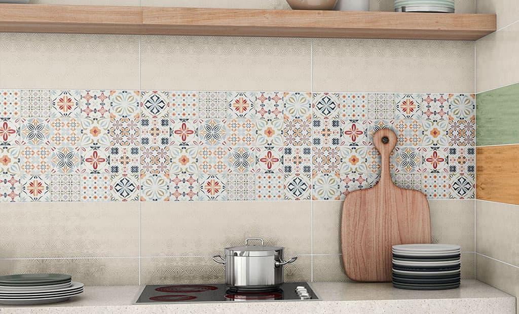 Ceramic tile mural backsplash