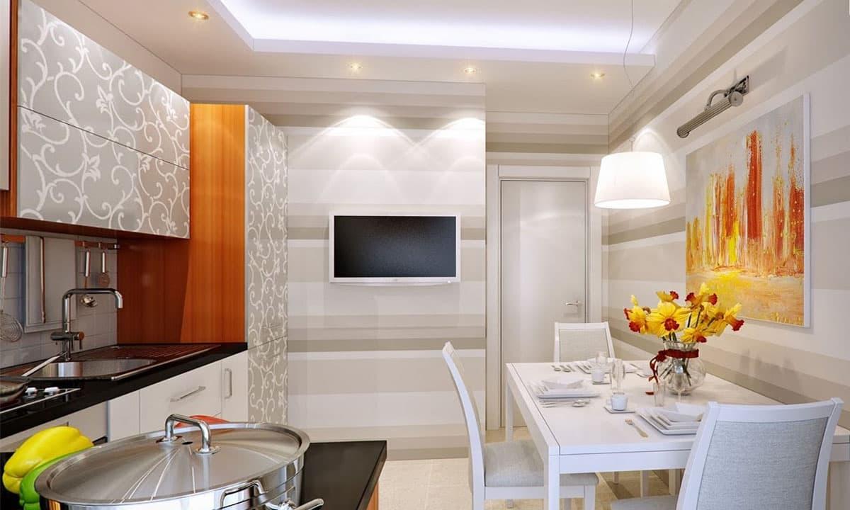 Фото кухни дизайн с телевизором