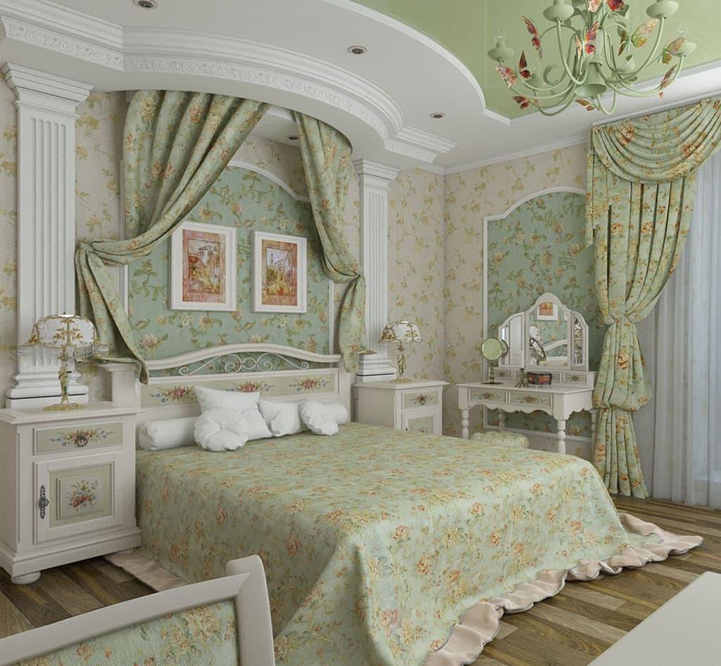если ремонт спальни в стиле прованс фото формы изделий