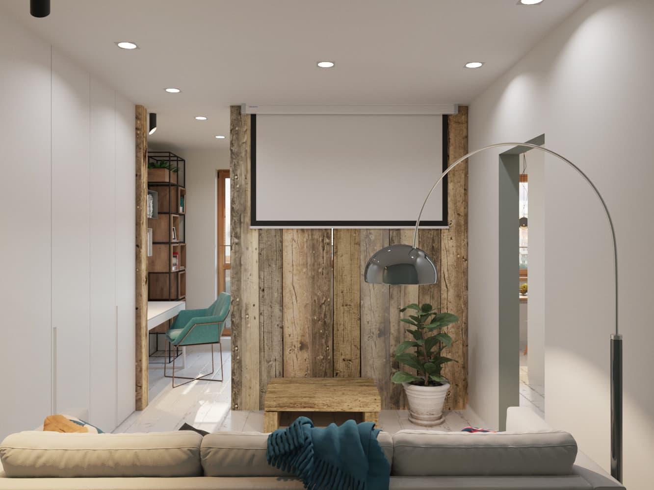 Эко-интерьер однокомнатной квартиры в панельном доме П-44
