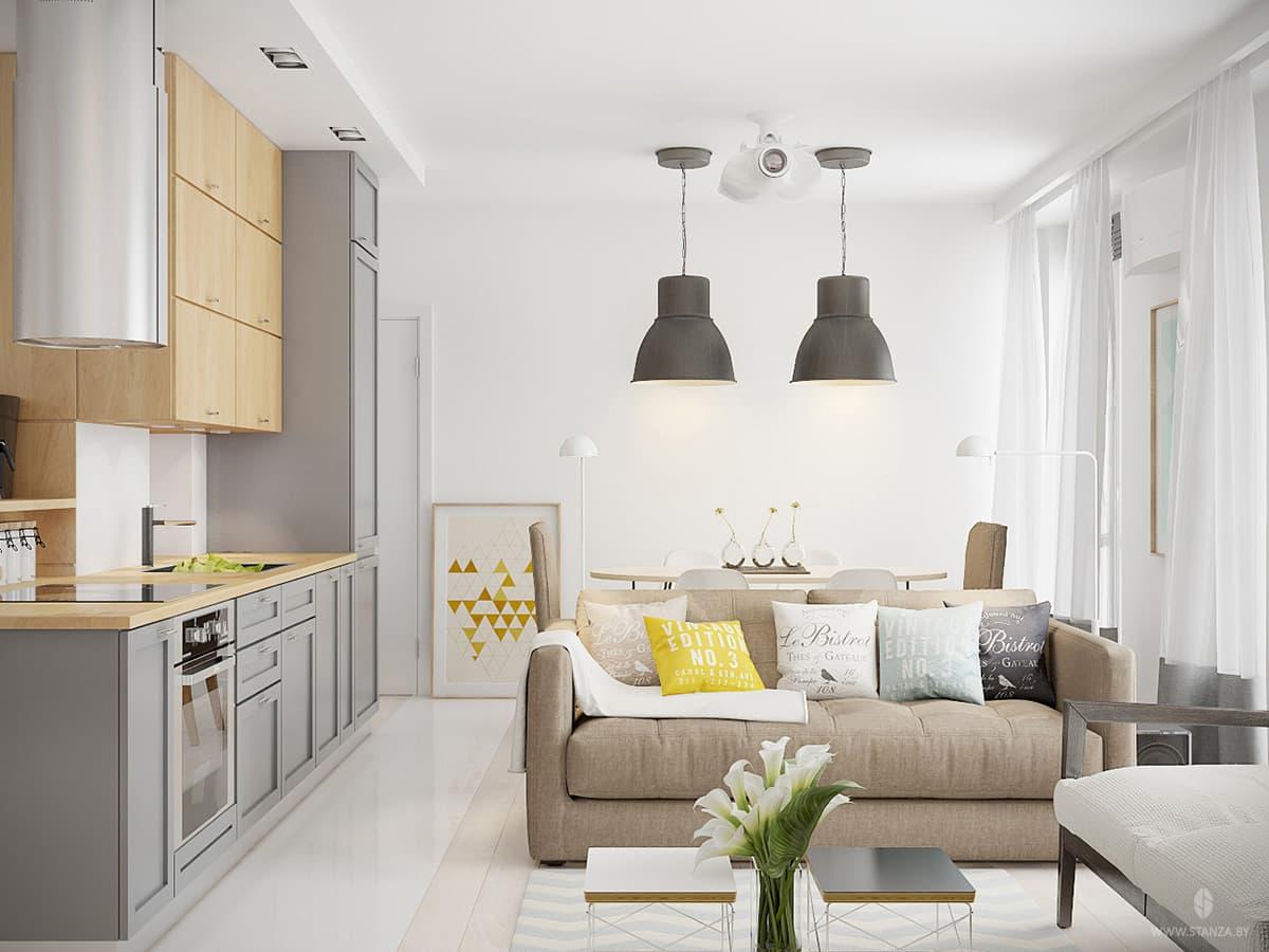 Теплый скандинавский интерьер трехкомнатной квартиры