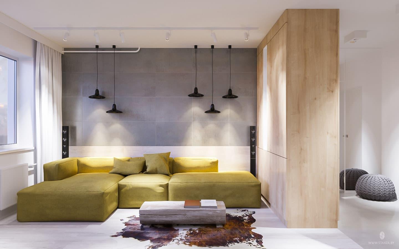 Светлый современный интерьер двухкомнатной квартиры