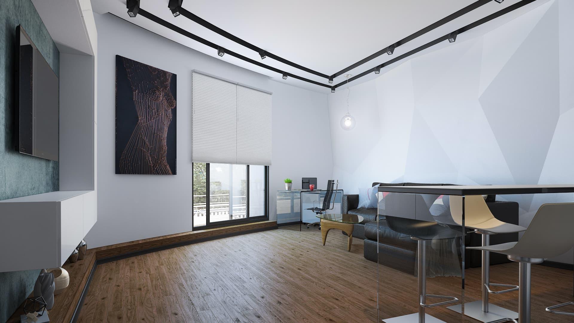 Черно-белый дизайн интерьера однокомнатной квартиры с террасой