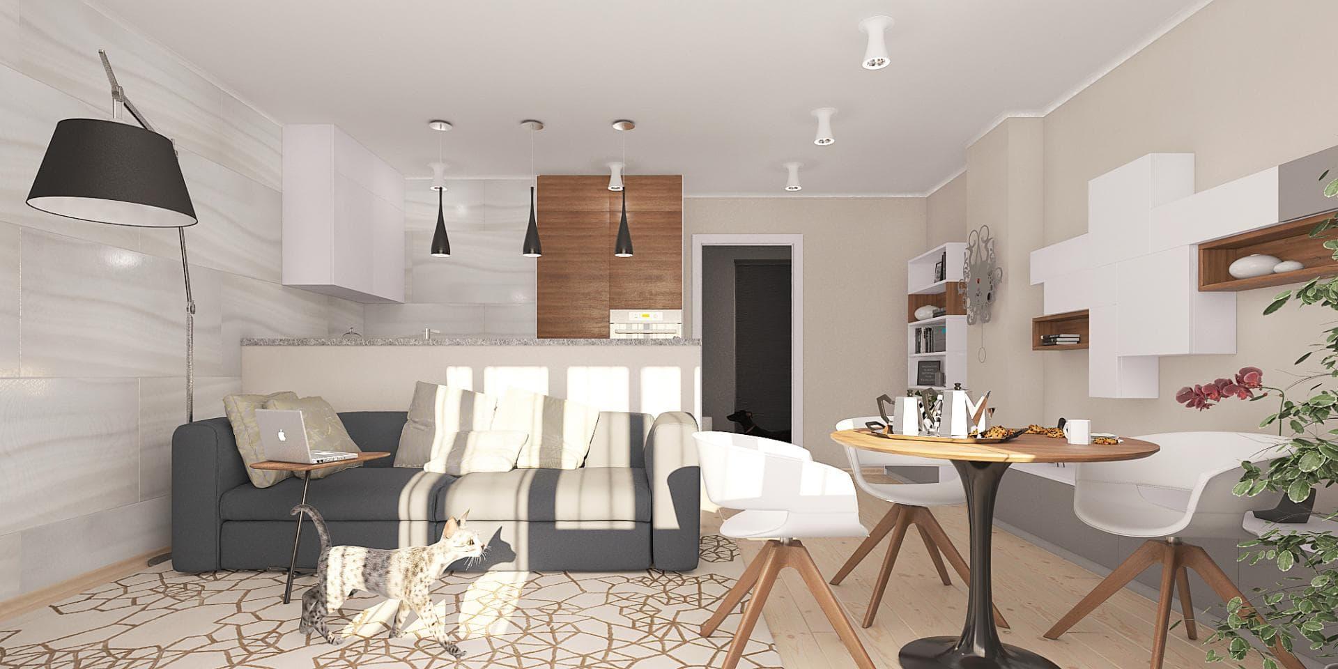 Дизайн-проект интерьера 2-ух комнатной квартиры 60 кв.м.