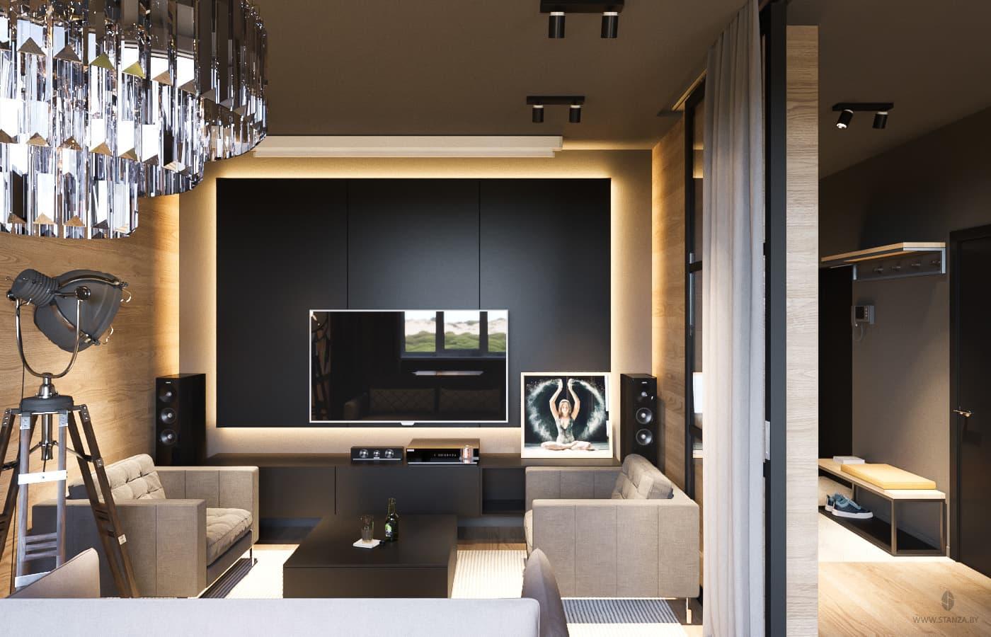 R.S.: чисто мужской интерьер двухкомнатной квартиры