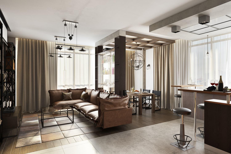 """Дизайн двухуровневой квартиры 170 кв.м. """"Soft Loft"""" для молодой семьи"""