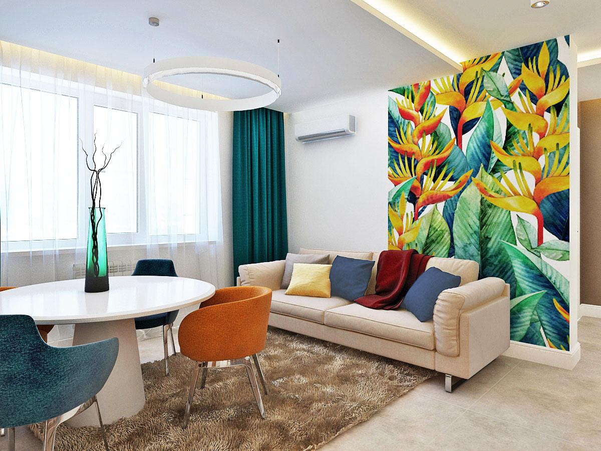 Яркий современный интерьер квартиры в ЖК Царицынский