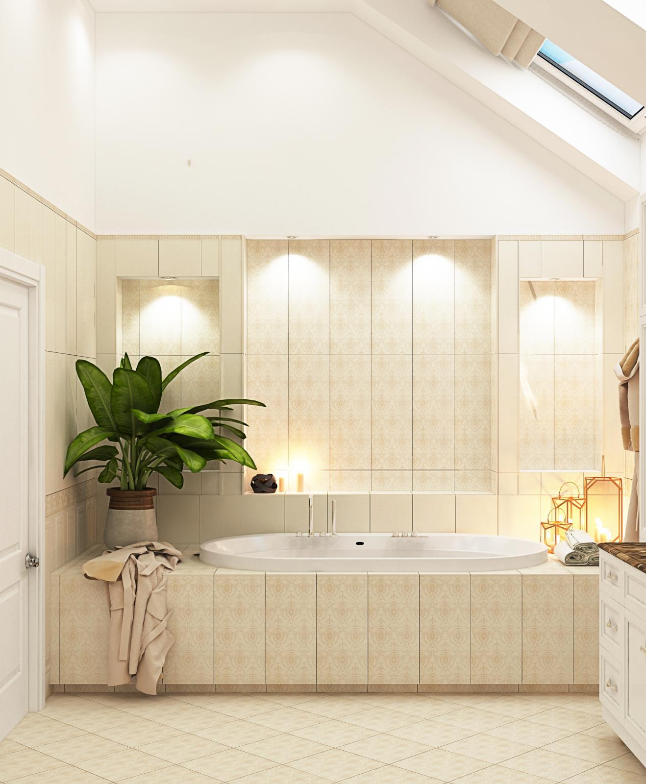 Ванная комната для загородного дома в прованском стиле