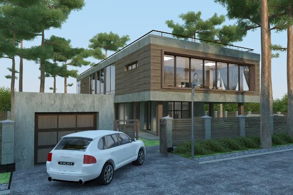 Монолитный дом в стиле «Хай Тек»