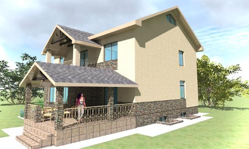 Двухэтажный жилой дом с гаражом и балконом