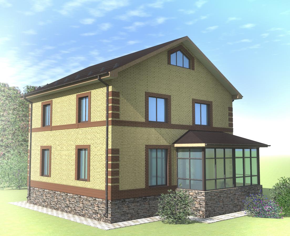 Проект двухэтажного жилого дома с верандой