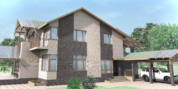 Двухэтажный жилой дом с подвалом и гаражом