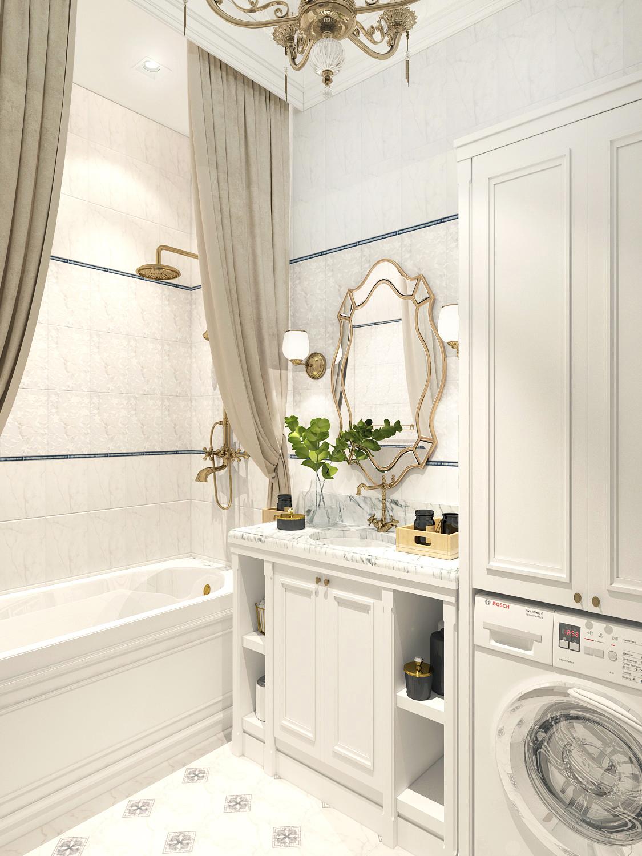 Дизайн интерьера ванной комнаты в ЖК Премьера