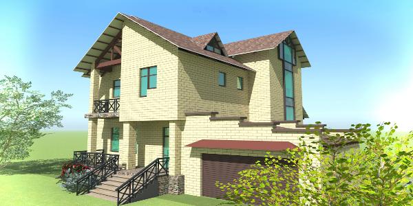 Двухэтажный жилой дом c балконом и террасой