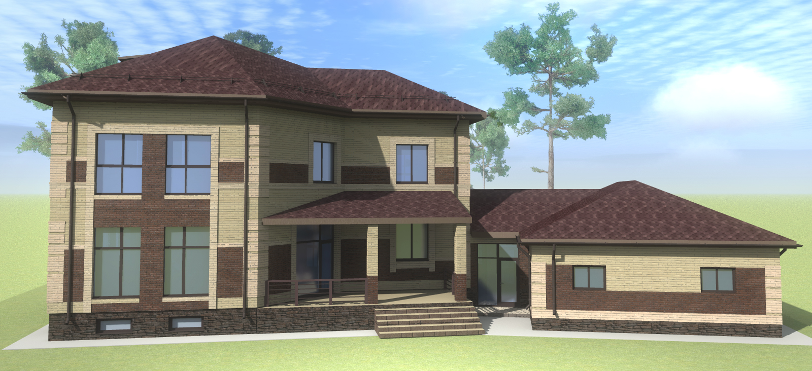 Двухэтажный жилой дом c верандой