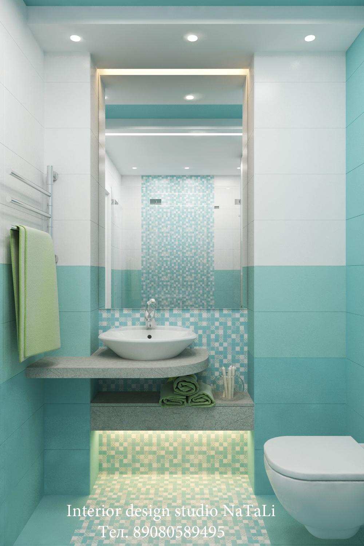 Дизайн интерьера ванной комнаты в бирюзовом цвете