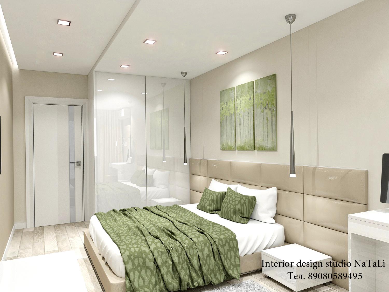 Дизайн интерьера спальной комнаты в оливковом цвете