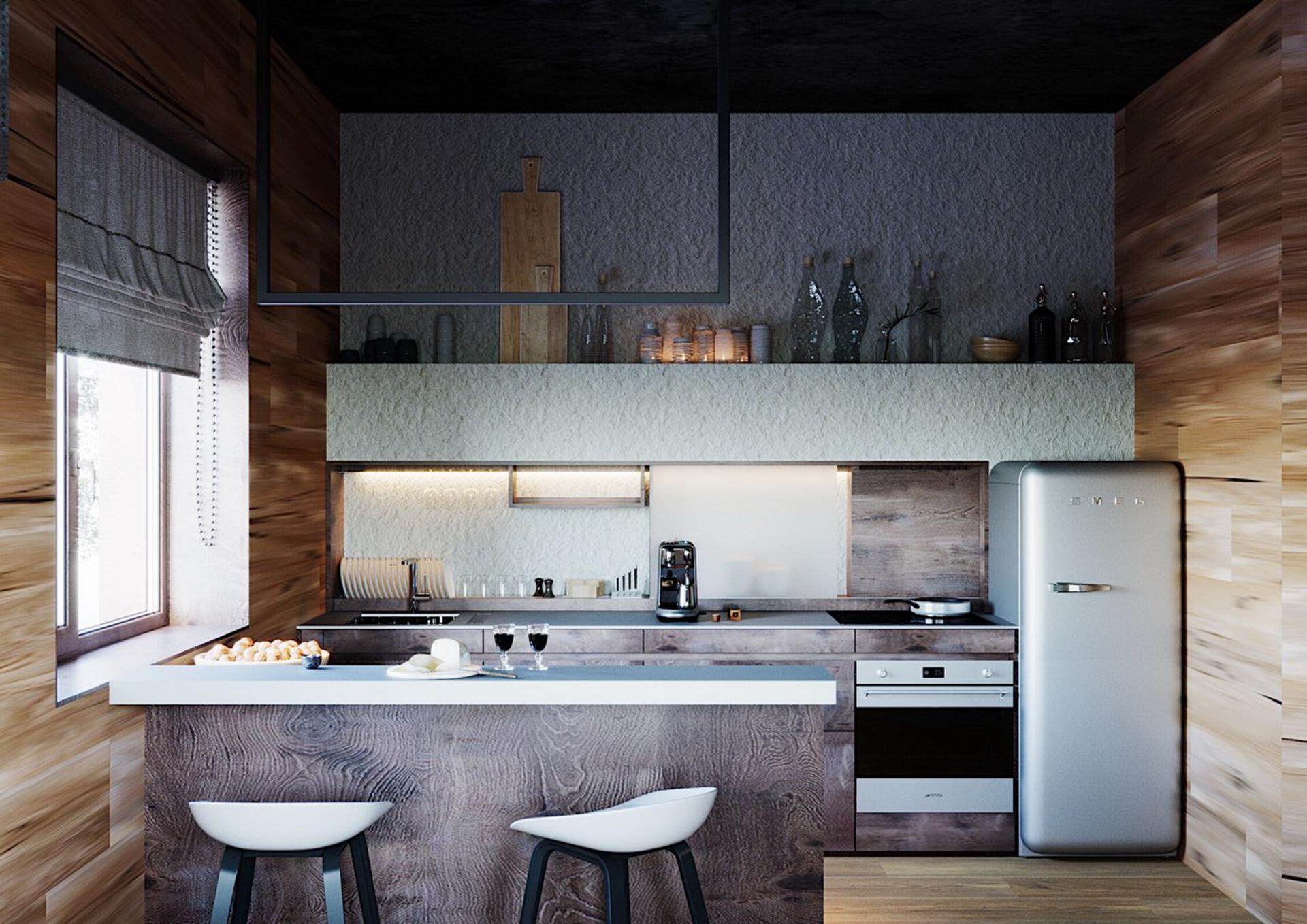 Кухня-гостиная в гостевом доме в Московской области