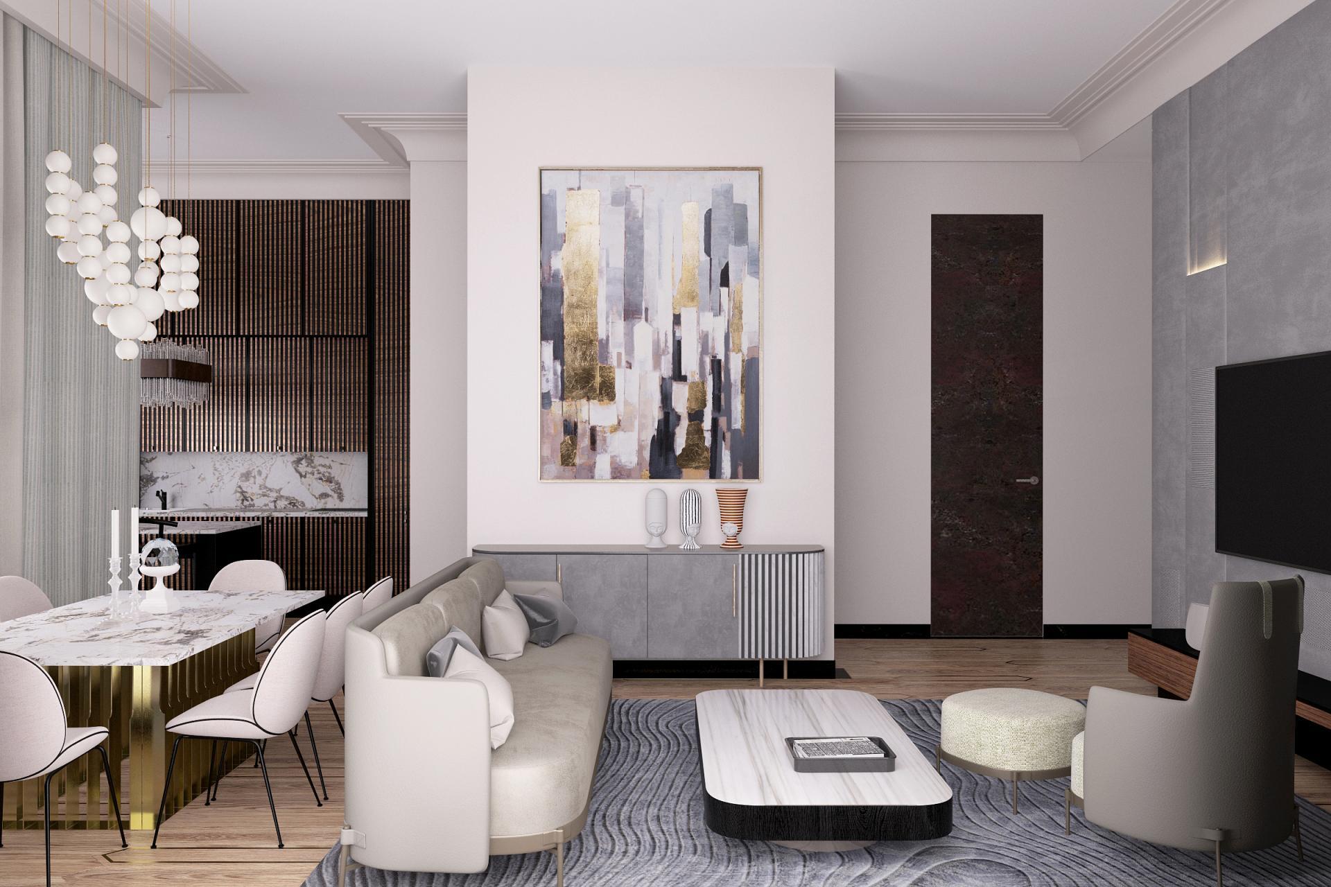 Дизайн пентхауса в ЖК Резиденция Монэ площадью 126 кв.м. в современном стиле для молодого человека
