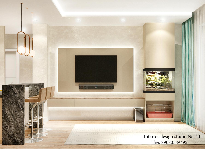 Дизайн интерьера кухни-гостиной в ЖК Ньютон