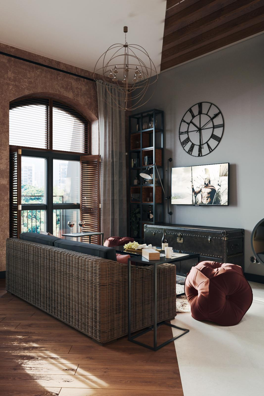 Интерьер студии 40 кв.м. Italian Loft