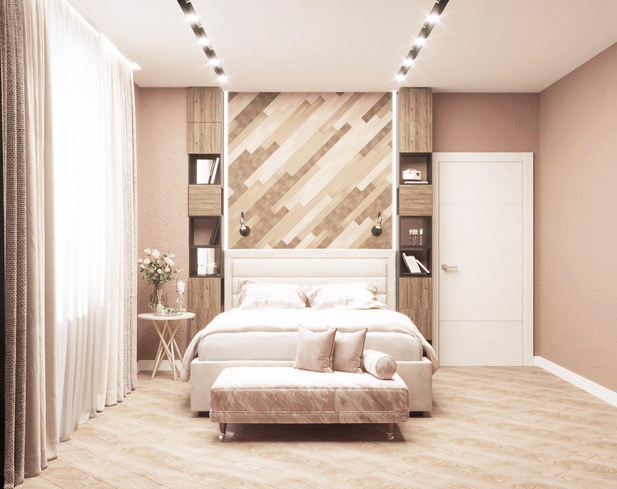 Дизайн интерьера спальни в пудровых оттенках