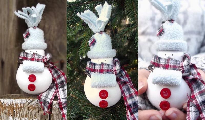 """Новогодняя игрушка на ёлку своими руками """"Снеговик"""" из лампочки [Мастер-класс]"""