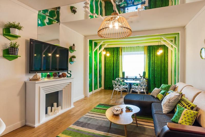 Дизайн интерьера в зеленом цвете - фото 8