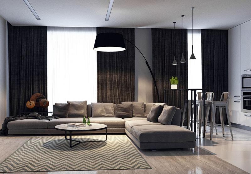 Дизайн кухни-гостиной 9